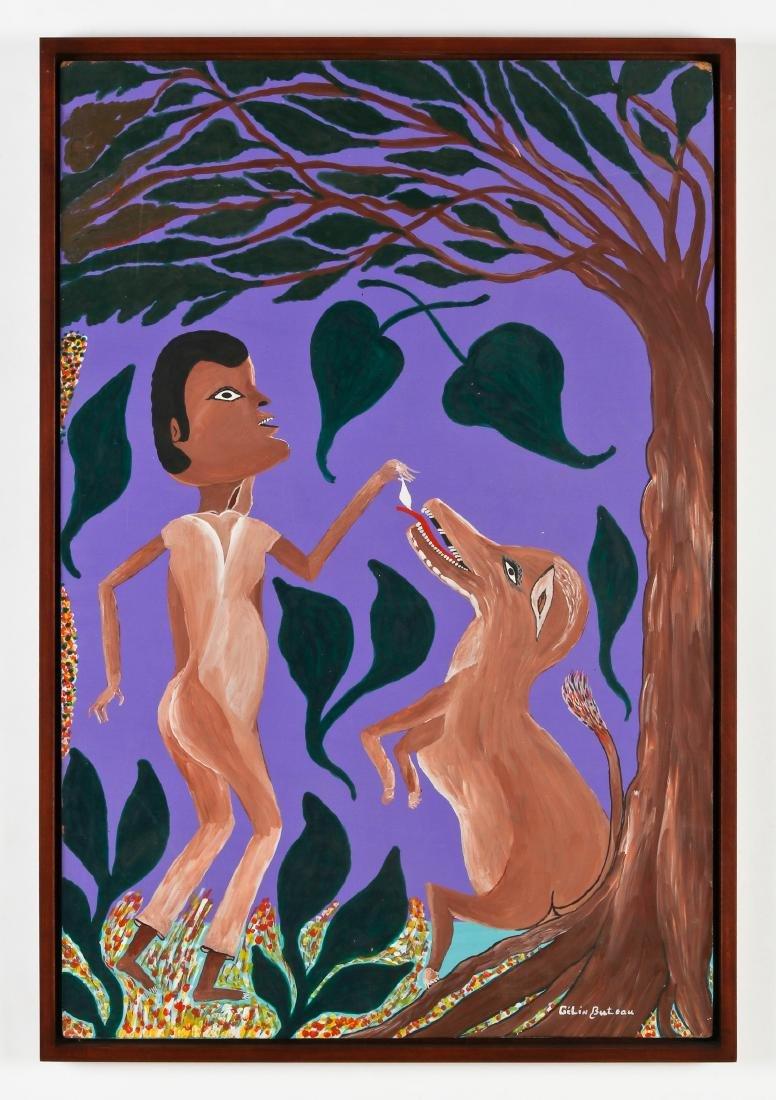 Gelin Buteau (Haitian, 1954-2000) Man Feeding Dog - 2