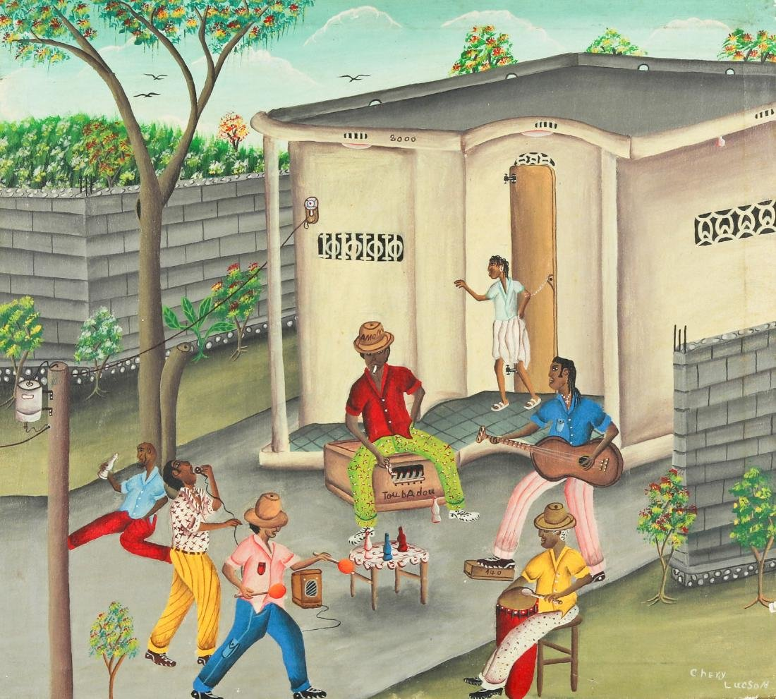 Lucson Chery (Haitian, 20th c.) Front Yard Music Party