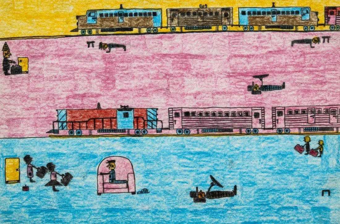 "David Olson (American, 20th c.) ""Trains"""