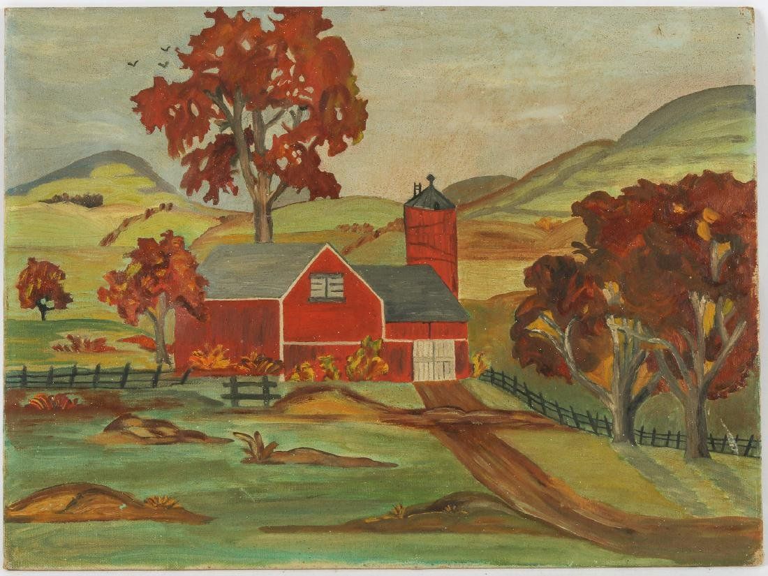 Anonymous (20th c.) Landscape with Red Barn