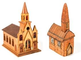 2 Folk Art Model Churches