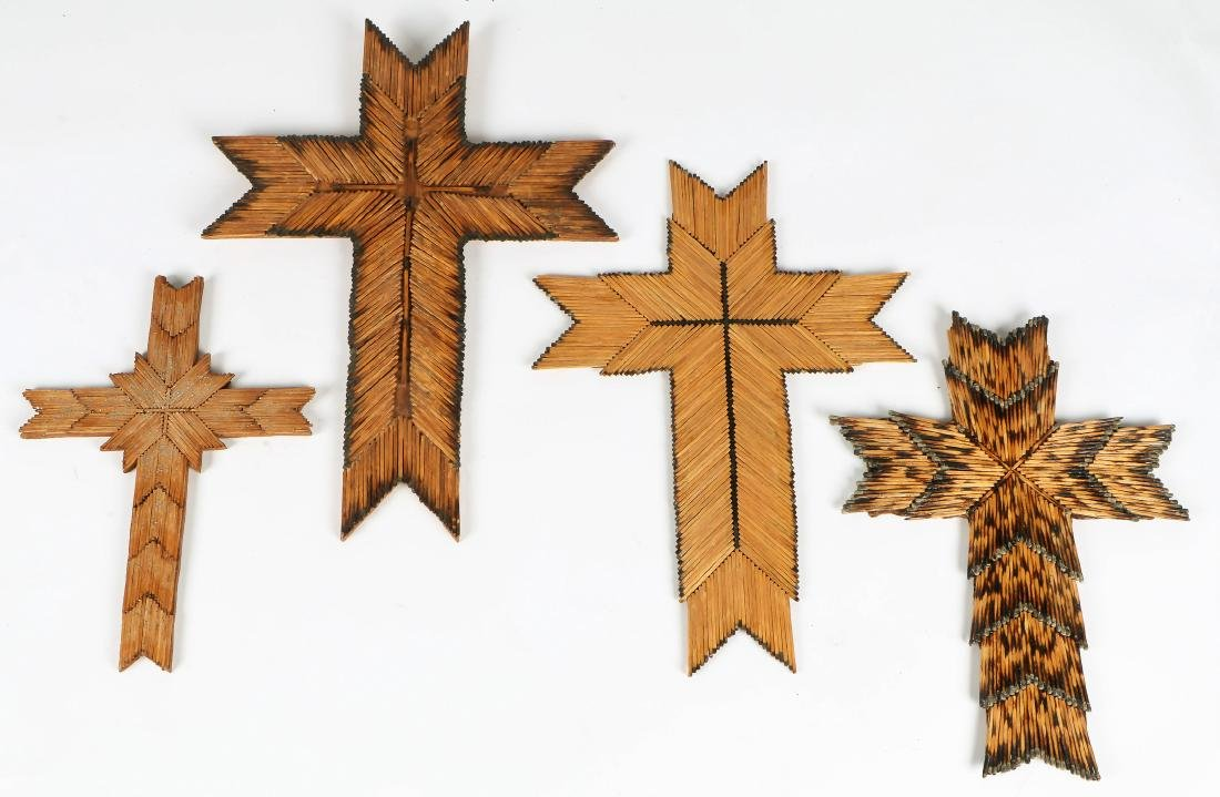4 American (20th c.) Folk Art Match Stick Crosses