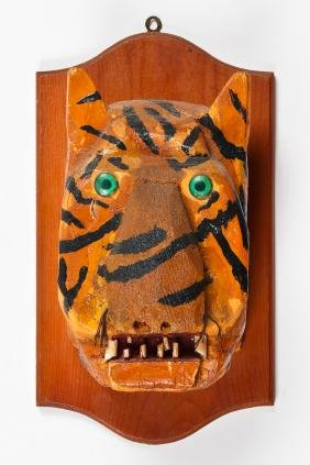 Folk Art Tiger Head Trophy