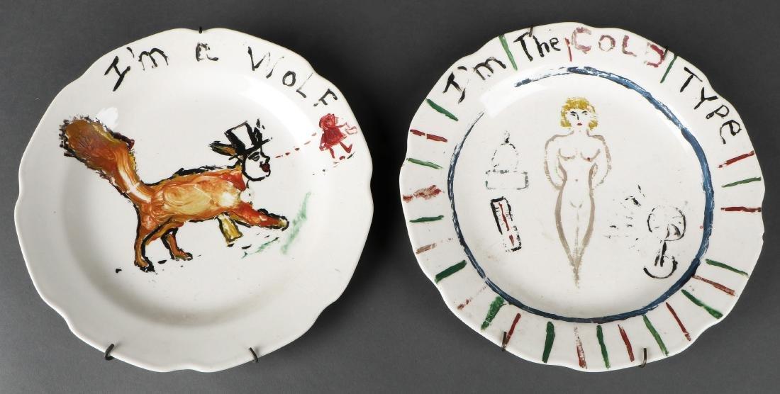 "Pair of His and Hers Plates: ""I'm a wolf"" and ""I'm the"