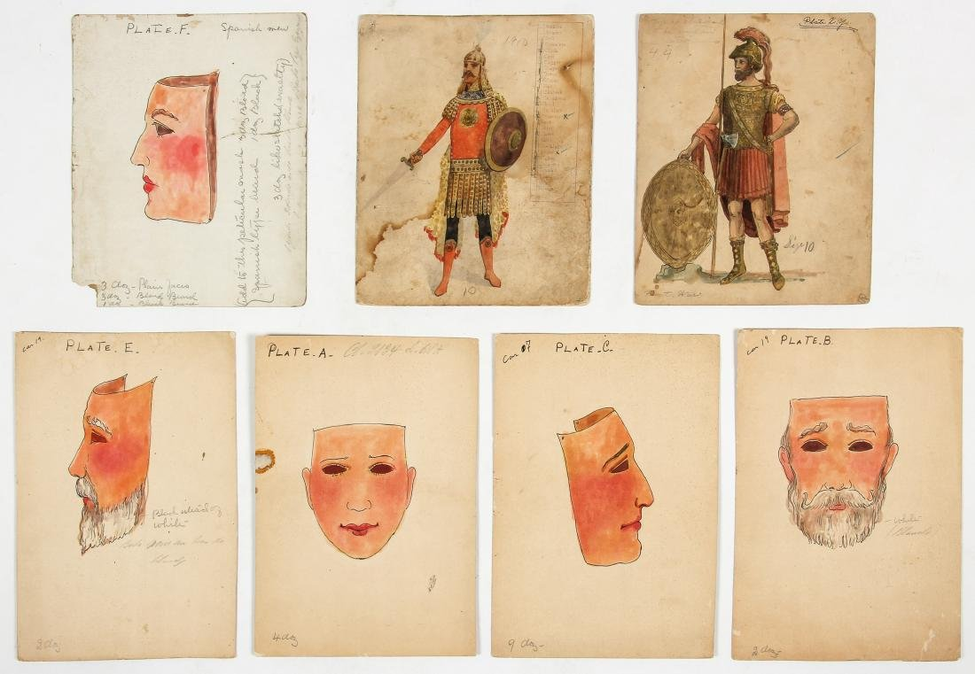 7 Vintage Theater Costume Drawings