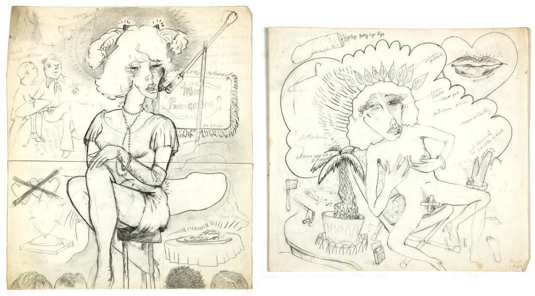 F.W. (20th c.) Two Portraits of Miss Francezette