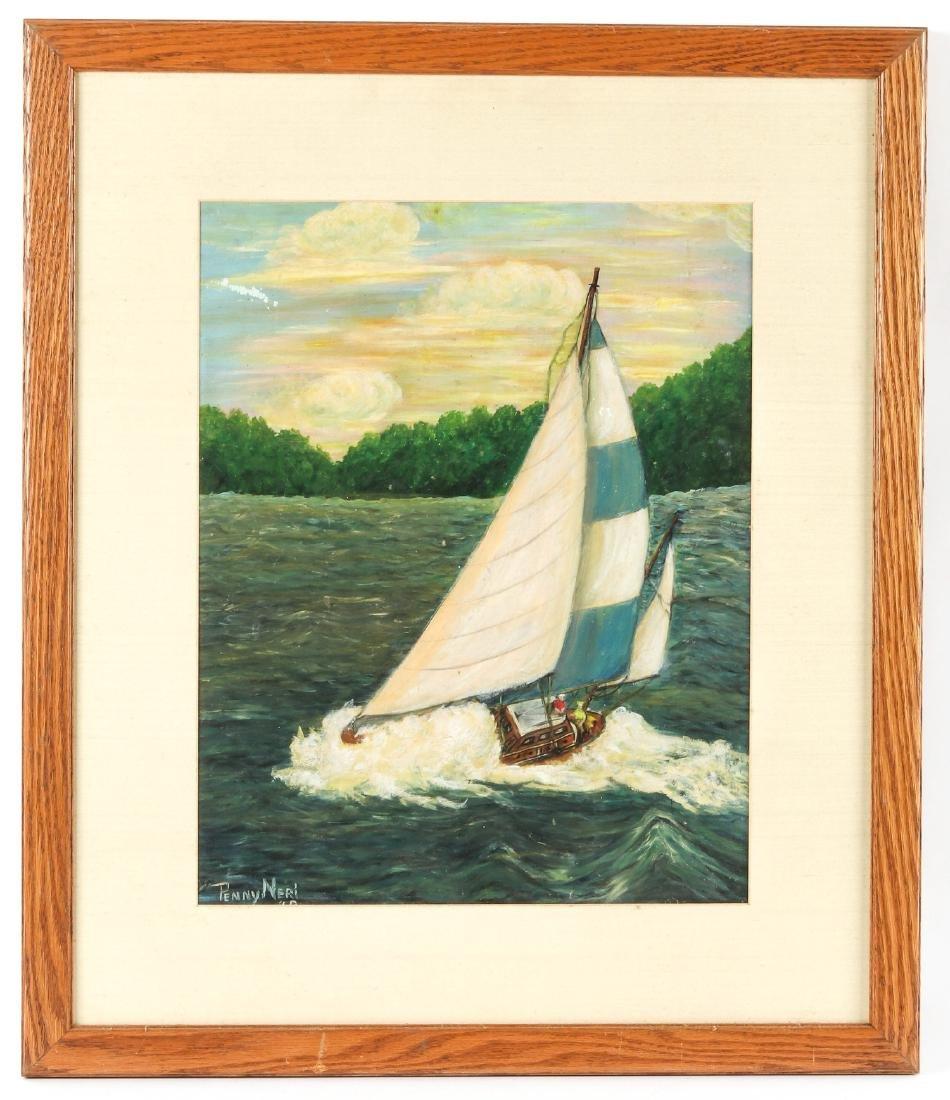 Penny Neri (American, 20th c.) Sailboat at Sunset