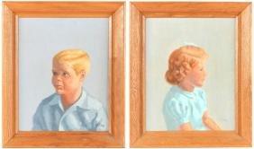 M.W. Sias (American, 20th c.) Two Portraits
