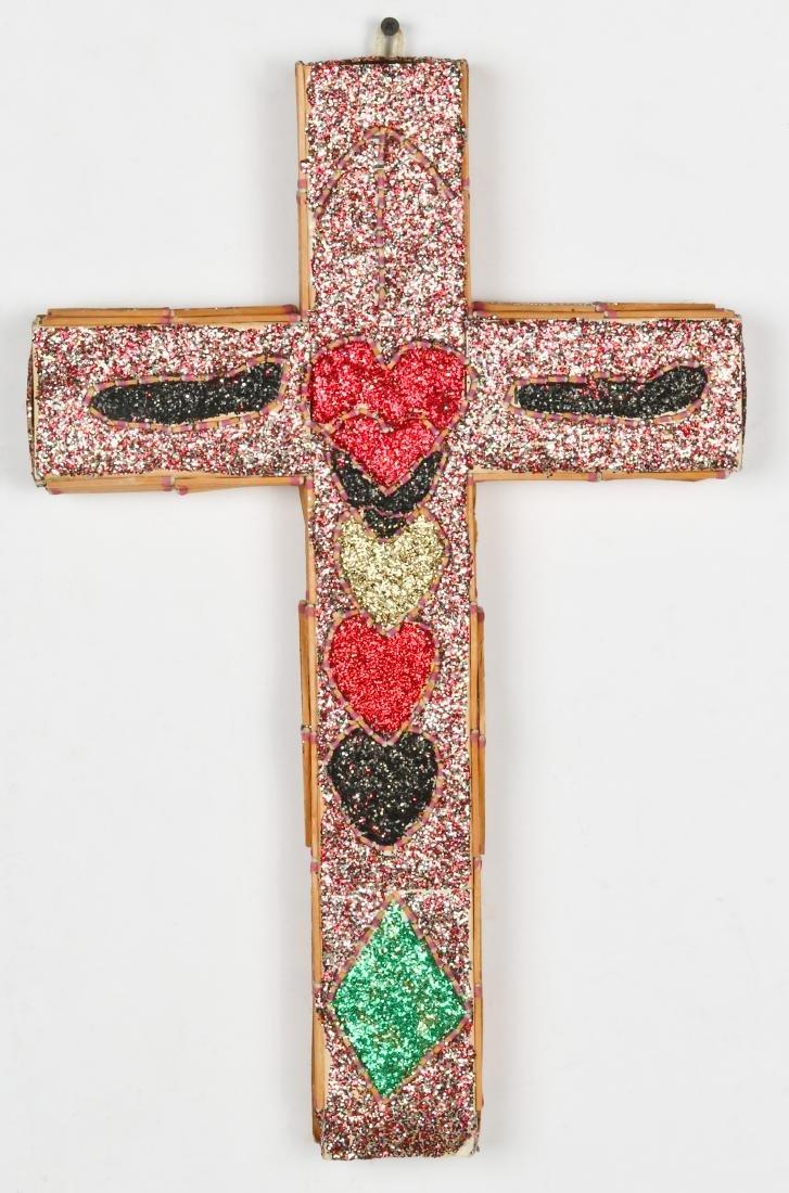L.W. Crawford (20th c.) Folk Art Matchstick Cross, 1987