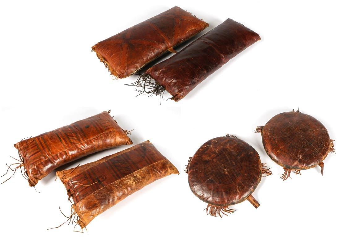 6 Tuareg Leather Pillows