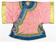 Antique Chinese Silk Embroidered Robe, Qing Dynasty