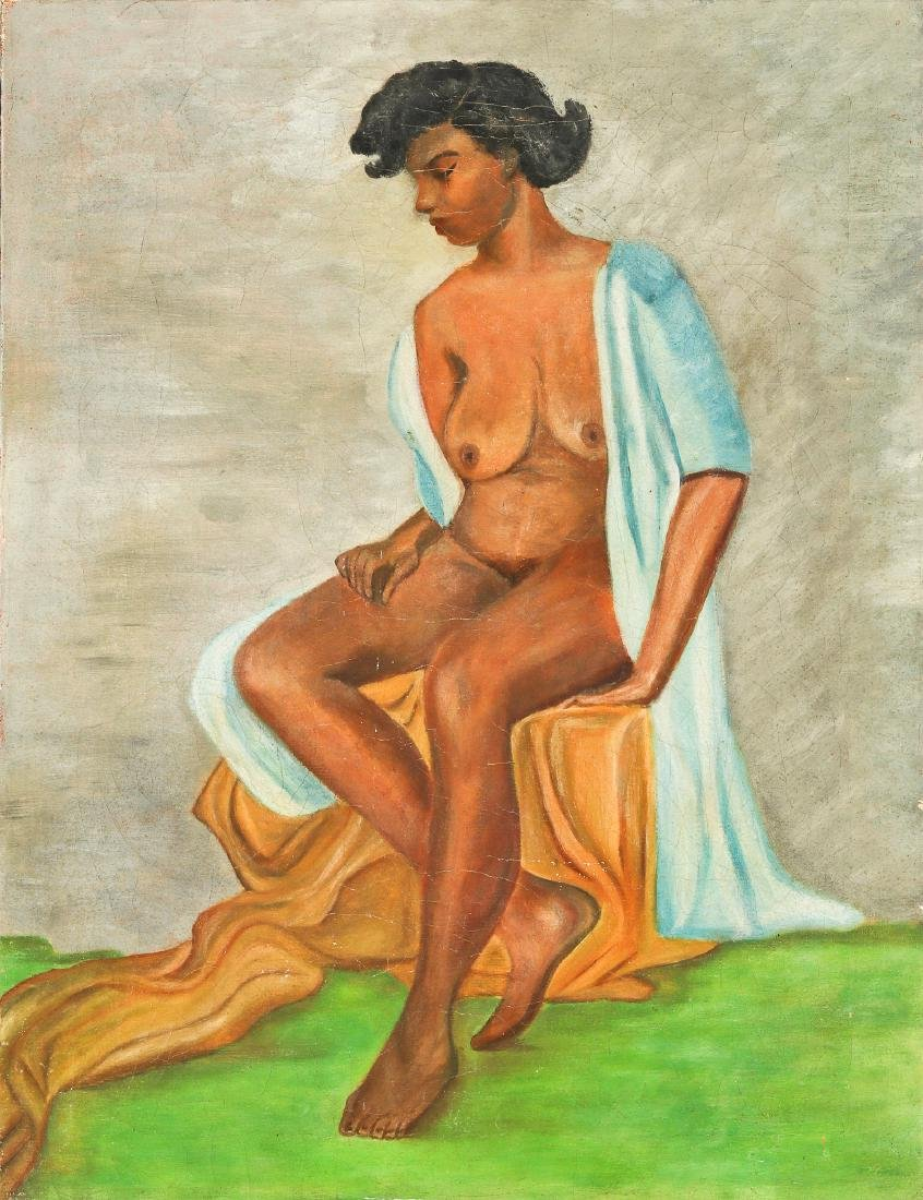 Anonymous Artist (American, 20th c.) Seated Nude Figure