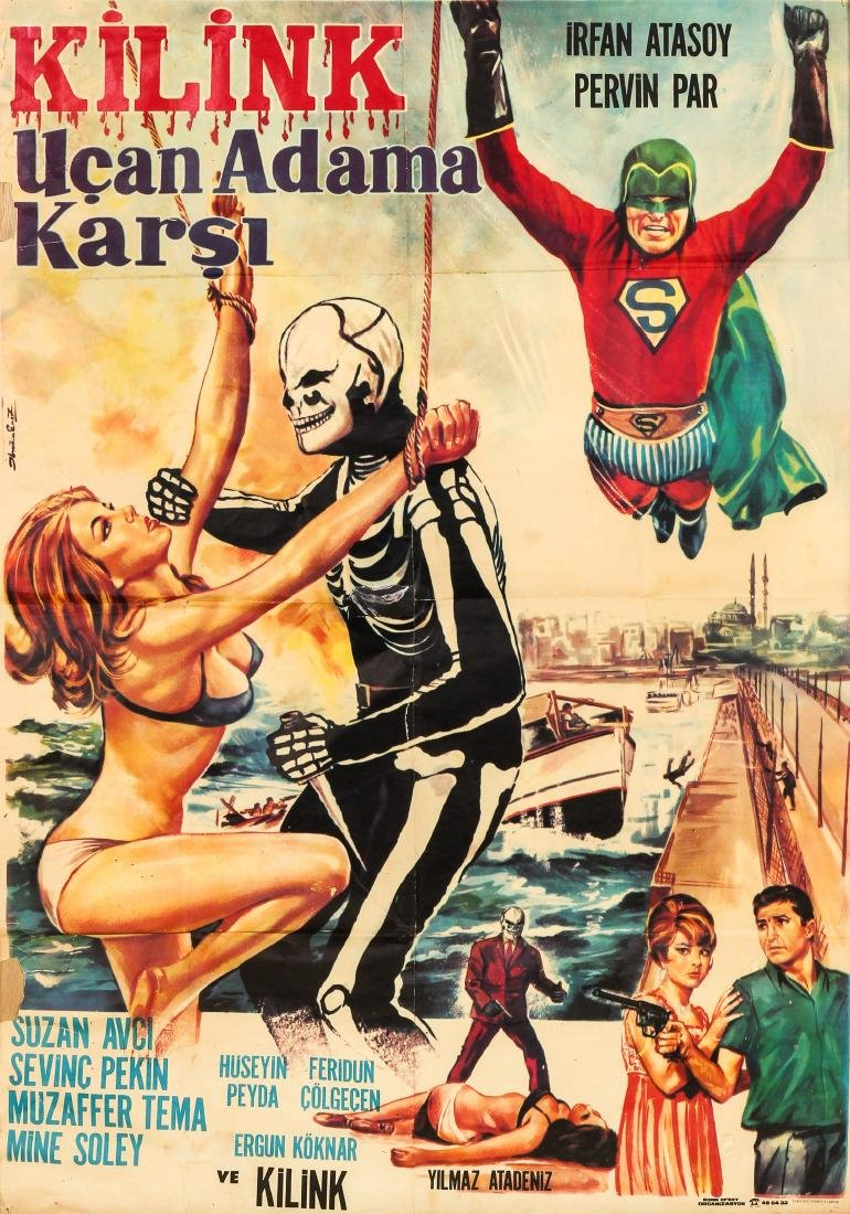"Vintage Turkish Movie Poster: ""Kilink Ucan Adama Karsi"""