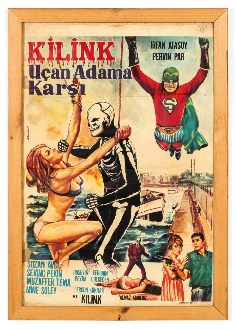 "Vintage Turkish Movie Poster: ""Kilink Ucan Adama Karsi"" - 2"