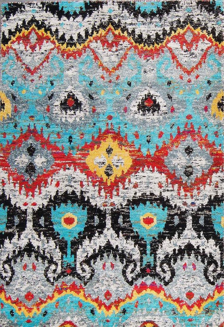 Ikat Sari Silk Rug: 5'3'' x 7'6''