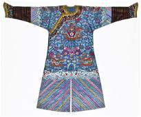 Outstanding Antique Chinese Silk Dragon Robe