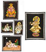 5 Vintage Indian Paintings on Cloth