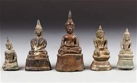 Five Antique LaosBurmese Bronze Buddha Statues
