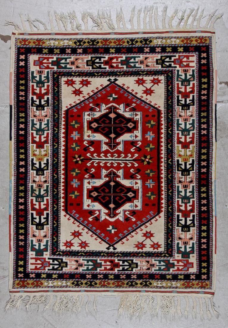 Vintage Turkish Rug: 3'8'' x 4'8'' (112 x 142 cm)