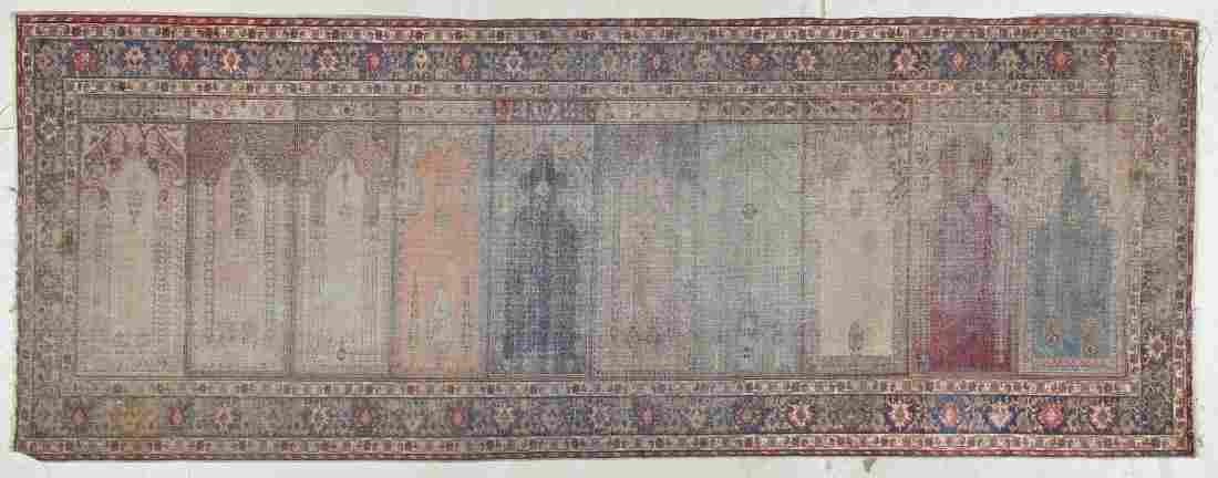 Semi-Antique Turkish Prayer Rug: 3'3'' x 8'7'' (99 x