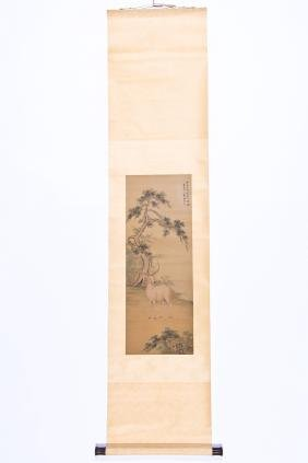 Antique Chinese Scroll Painting With Deer