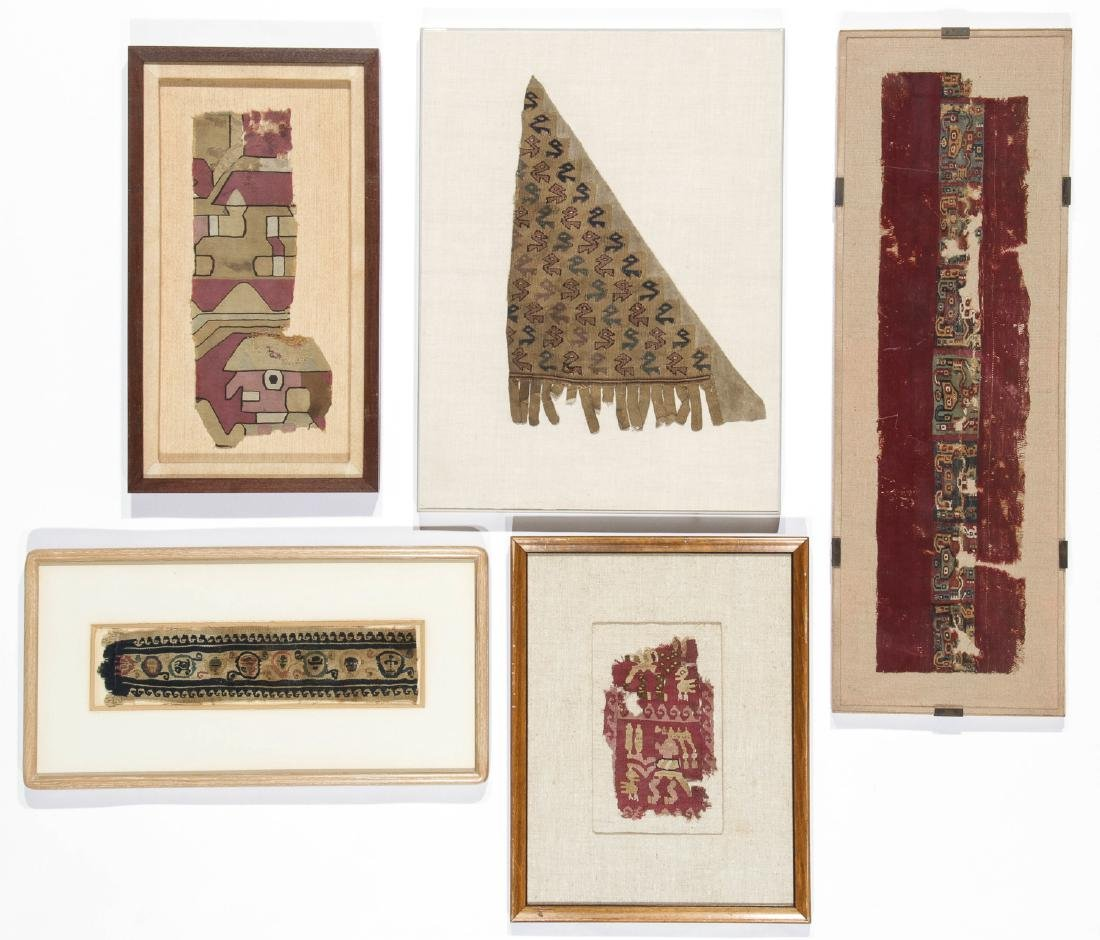 4 Framed Pre-Colombian & 1 Coptic Textiles