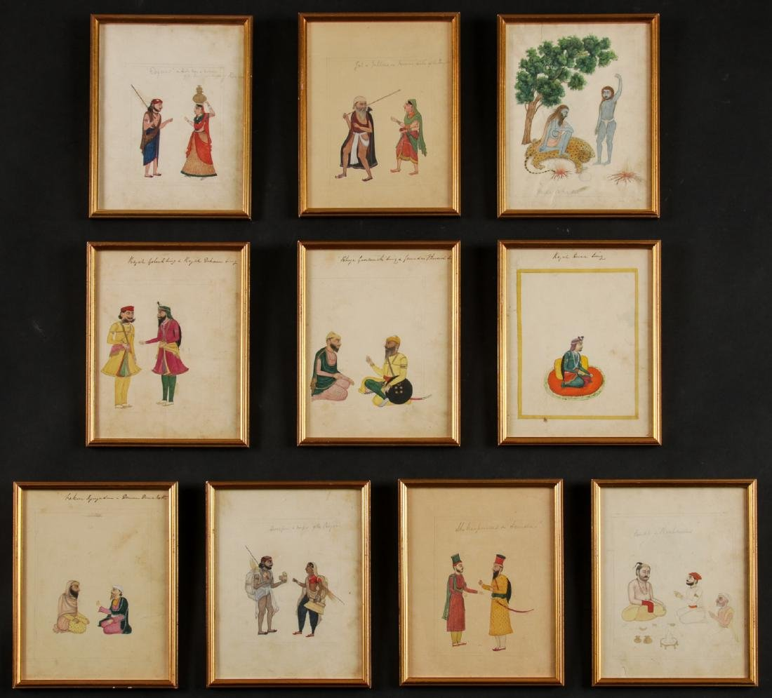 Group of 10 Antique Indian Watercolor Paintings
