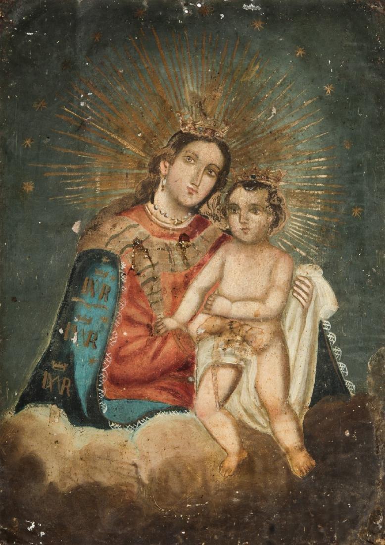Antique Mexican Virgin of Refugio Retablo
