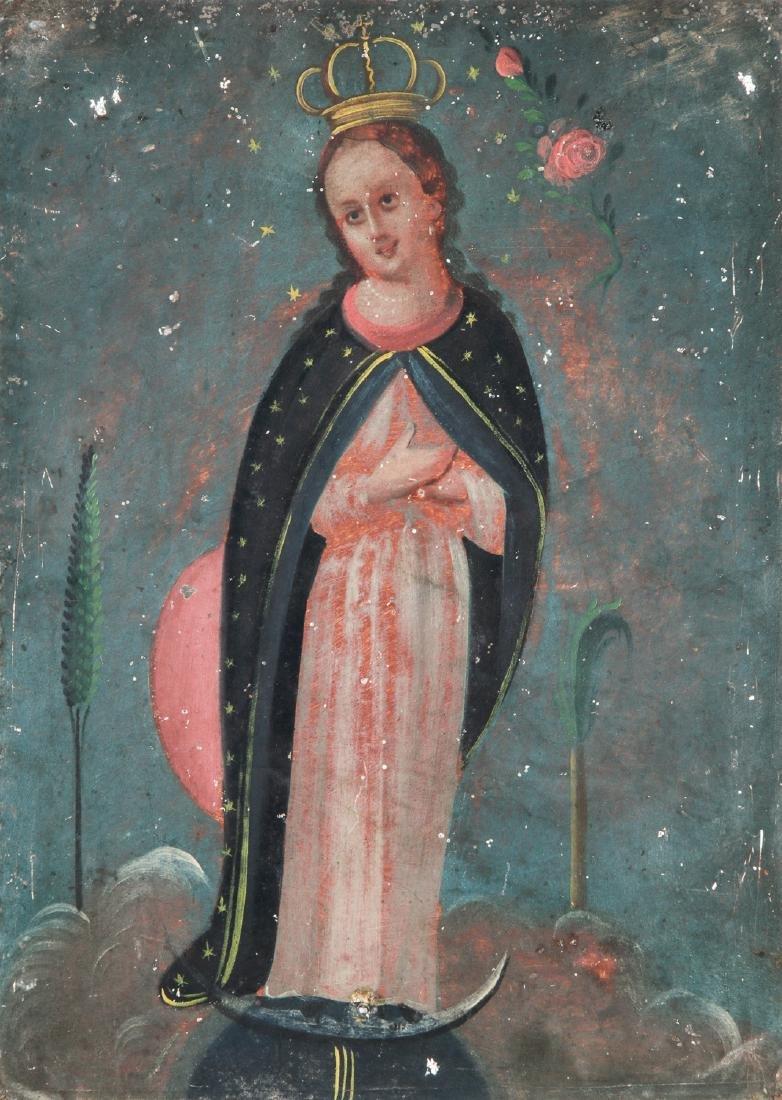 Antique 19th c. Mexican Virgin Mary Retablo