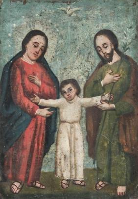 Antique Mexican Holy Family Retablo