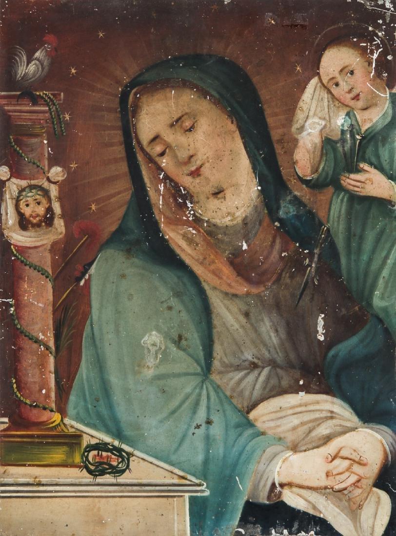 Antique 19th c. Virgin Mary with Child Retablo