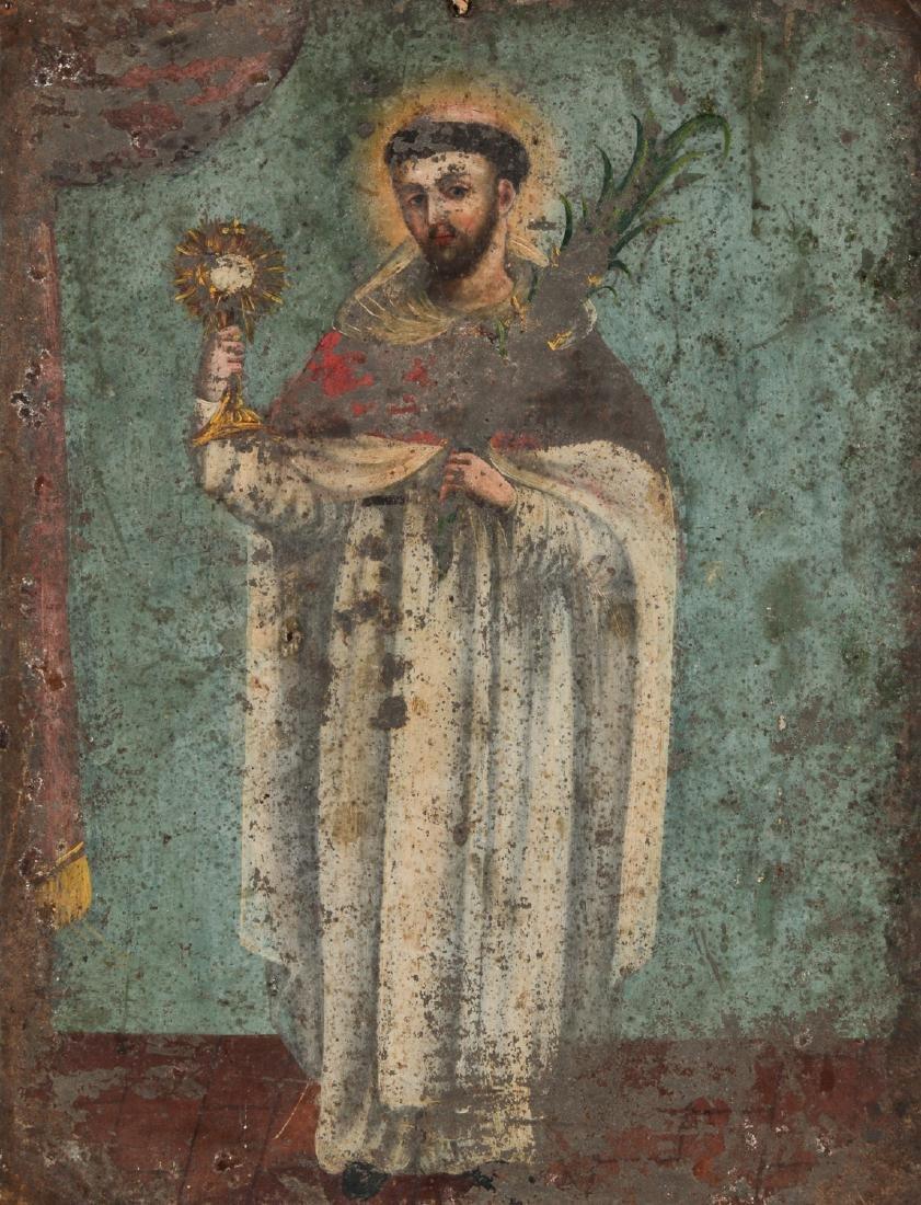 Antique Mexican Saint Retablo, 19th c.