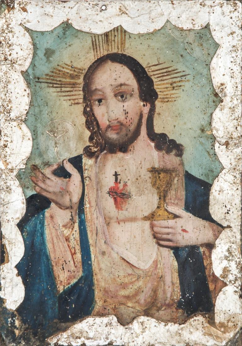 Antique Mexican Sacred Heart Retablo