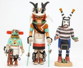 3 Hopi Kachina Dolls Signed R. Pentewa