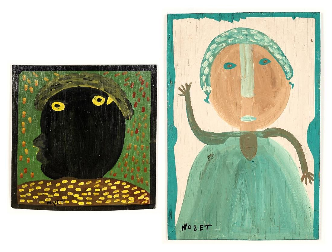 Mose Tolliver (1925-2006) Two Portrait Paintings