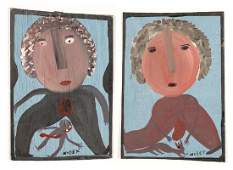 Mose Tolliver (1925-2006) Two Paintings