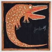 Jimmy Lee Sudduth (American, 1910-2007) Crocodile