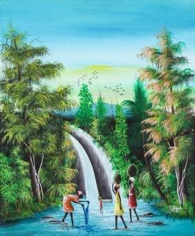 Louis Jonas (Haitian, 20th c.) Waterfall, 1988