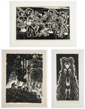 3 Chinese (20th c.) Woodblock Prints