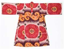 Antique Central Asian Silk Ikat Robe