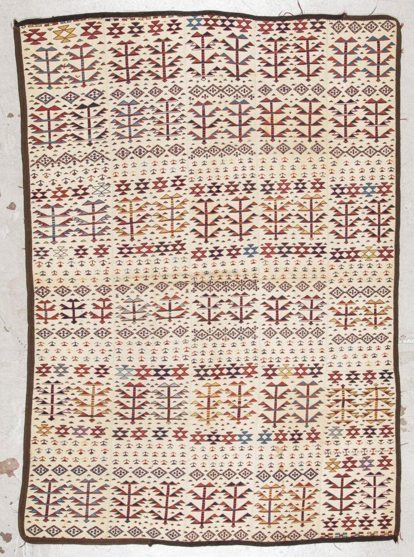 Antique Shahsavan Sumak Kilim: 5' x 7'1''