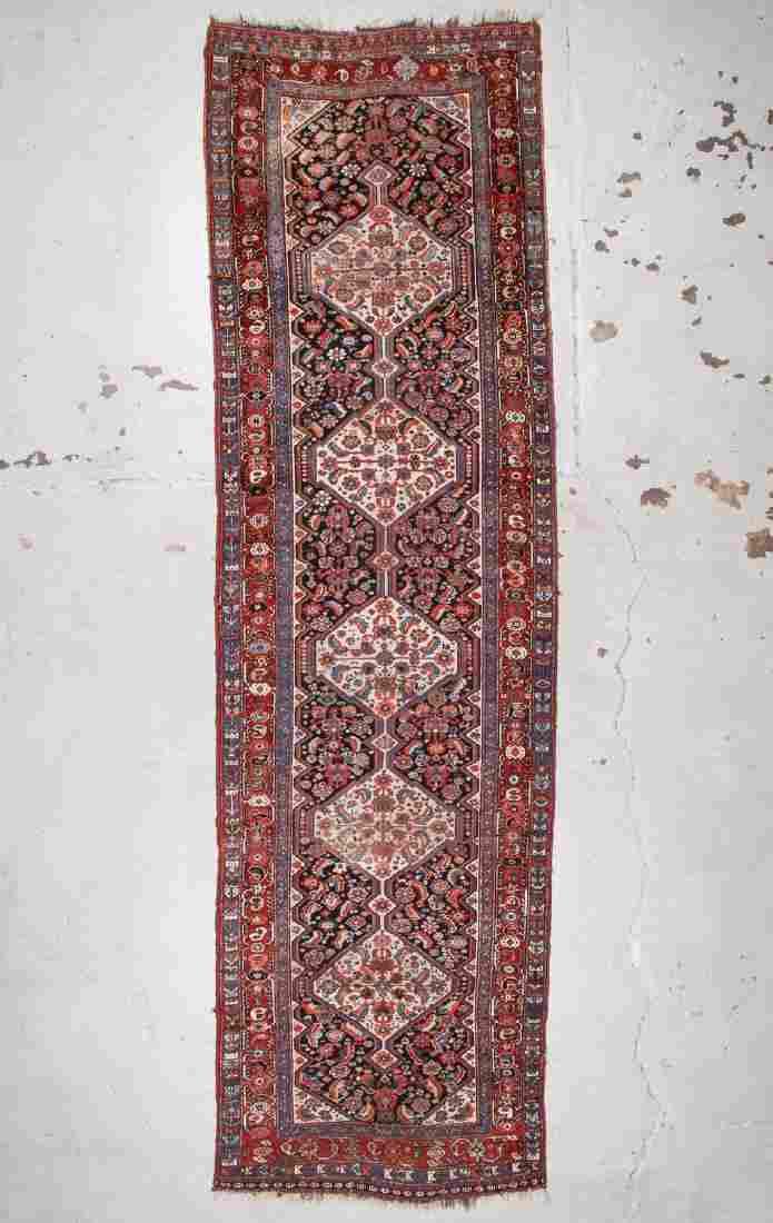 Antique Gashgai Rug: 3'7'' x 12'6'' (109 x 381 cm)