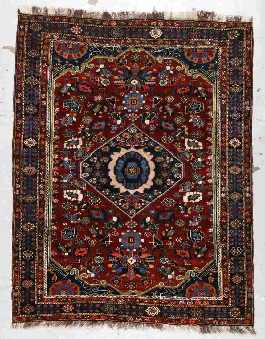 Antique Gashgai Rug: 4'2'' x 5'4'' (127 x 163 cm)