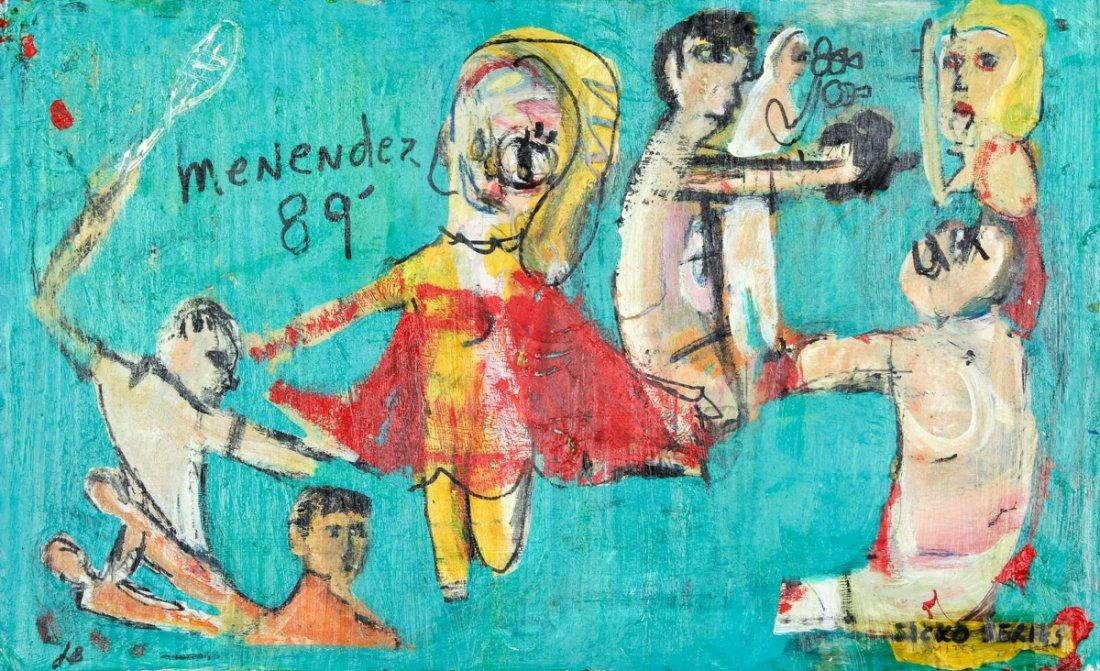"Jim Bloom (American, b. 1968), ""Menendez 89"", Mixed Med"