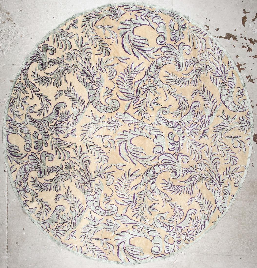 Round Tibetan Wool/Silk Rug: 12'8'' x 12'8''