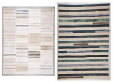 2 Modernist Turkish Kilim Patchwork Rugs