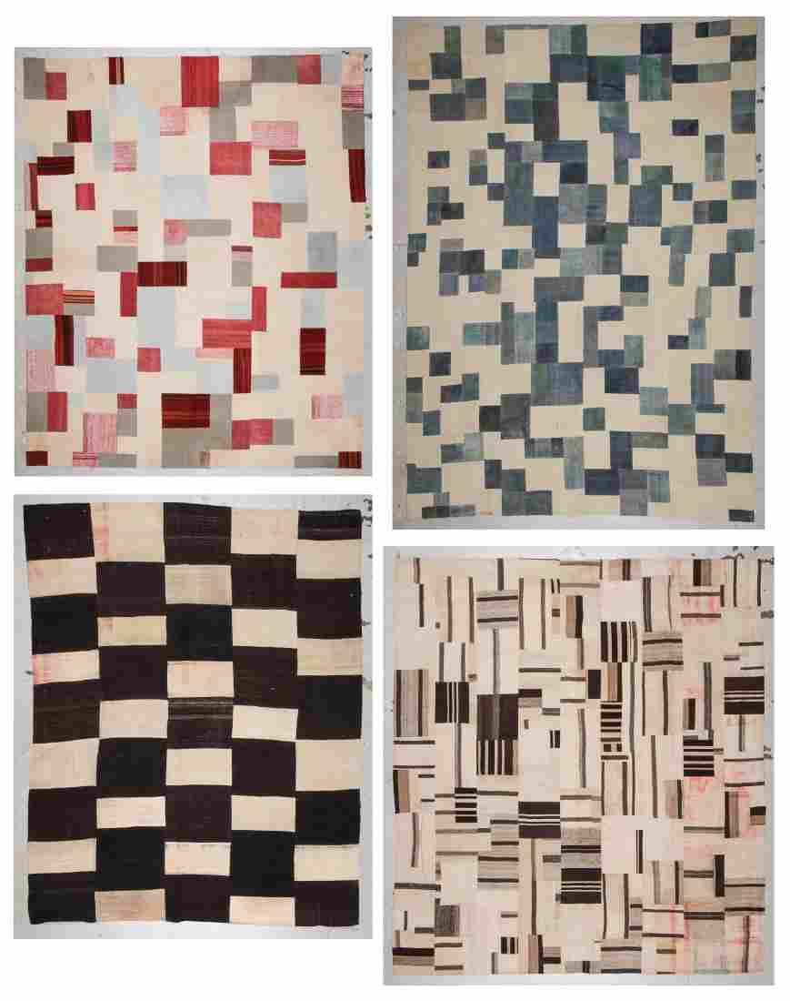 4 Modernist Turkish Kilim Patchwork Rugs