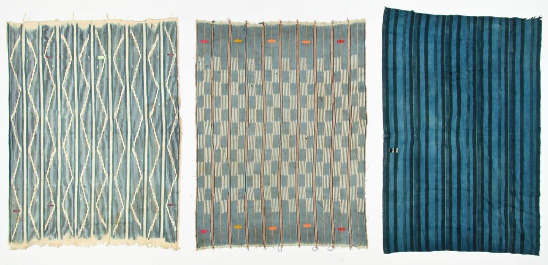 3 Vintage West African Indigo Cloths