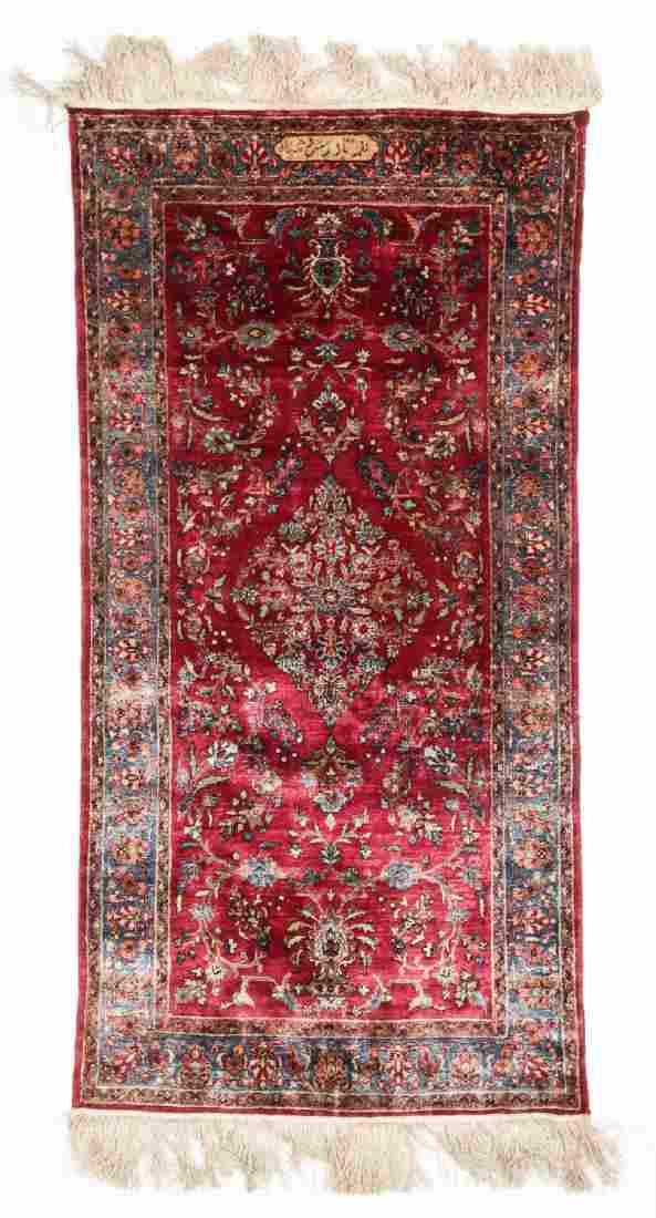 Antique Silk Kashan Rug, Signed