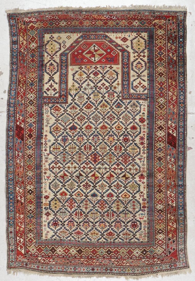 Antique Shirvan Prayer Rug: 4'5'' x 6'7'' (135 x 201